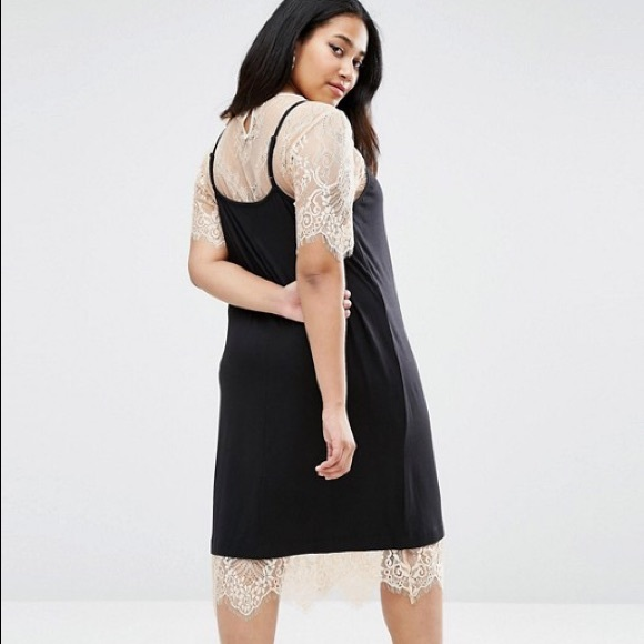 2fcab043245 ASOS Curve Dresses | Cami Dress With Lace Layered Tshirt | Poshmark